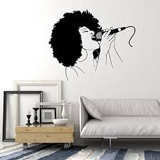 Wall Stickers Vinyl Decal Black Woman Singing Microphone Music Hot Sexy Karaoke Ig356 Afrocentric Afrocentric Vibes