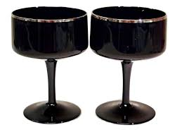 black crystal champagne coupe glasses