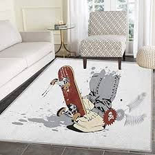 Amazon Com Teen Room Rug Kid Carpet Skateboard With Boy Feet In The Sneakers And Jeans Illustration Home Decor Foor Carpe 3 X5 Grey Cream Chestnut Brown Kitchen Dining