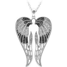 wing white and black diamond pendant