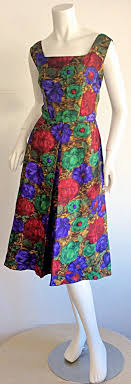 Stunning 1950s Adele Ross Silk Floral Watercolor Belted Dress For Sale at  1stdibs