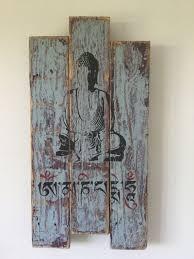 buddha mantra wall art wood pallet