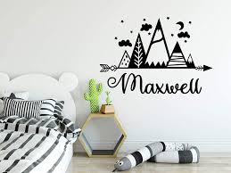 Amazon Com Mountain Name Wall Decals Above Bed For Kids Room Stickers Rustic Above Crib Decor Nursery Wa29 Handmade