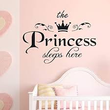 Amazon Com Wm Mw Quotes Wall Stickers The Princess Sleep Here Wall Sticker For Baby Girls Bedroom Decor Vinyl Carving Wall Decal Home Kitchen