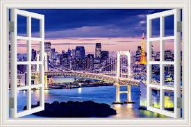 Amazon Com Greathomeart Removable Wall Decal Stickers New York City 3d Window Scenes Brooklyn Bridge Night View Vinyl Wall Murals For Living Room Home Decor Art 24x36 Inches Home Kitchen