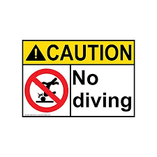 Caution No Diving Ansi Safety Label Decal 5x3 5 In 4 Pack Vinyl For Recreation By Compliancesigns Swim Signs