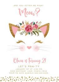 Kitten Birthday Invitation Invites Digital Cat Pink Gold