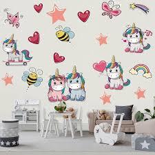 Cute Unicorn Bee Star Heart Rainbow Butterfly Wall Sticker Gallery Wallrus Free Worldwide Shipping
