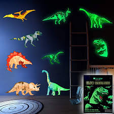 Dinosaur Wall Decals For Boys Girls Room Glow In The Dark Stickers Large Removable Vinyl Decor Bedroom Living Classroom Cool Light Art Kids Birthday Christmas Gifttoddlers And Teens Educational Toys Planet