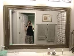 wood frame bathroom mirror