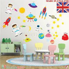 Outer Space Wall Stickers Kids Astronaut Rocket Boys Nursery Bedroom Vinyl Decal Ebay