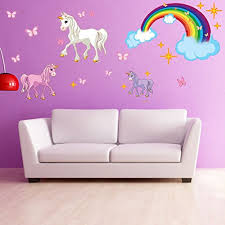 Unicorn Set Wall Decal With Rainbow Girls Room Wall Decal Sticker For Girls Nursery Vinyl Wall Art Kids Room Decor Ds 886 20in X 23in Walmart Com Walmart Com