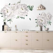 Amazon Com Murwall White Peony Wall Stickers Floral Decals For Bethroom Kitchen Handmade