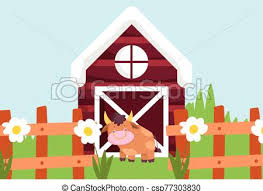 Bull And Barn Wooden Fence Flowers Farm Animal Cartoon Vector Illustration