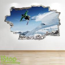 Boys Kids Bedroom Extreme Sport Wall Decal Z125 Skiing Wall Sticker 3d Look