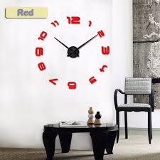Large Diy Decals Modern Wall Clock Black Red Gray Blue Pink Silvery G