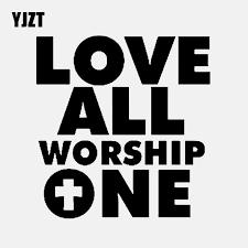 Yjzt 12 9cm 13 7cm Love All Worship One Car Sticker Vinyl Decal Christian Religious God Jesus Black Silver C3 1360 Car Stickers Aliexpress
