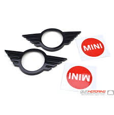 Mini Cooper Gloss Black Wings New Logo Emblem Cover Front And Rear With Colored Accent Sticker Mini Cooper Accessories Mini Cooper Parts