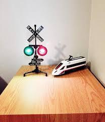 Train Railroad Crossing Flashing Lights Table Lamp Kids Room Decor Aliens Poop