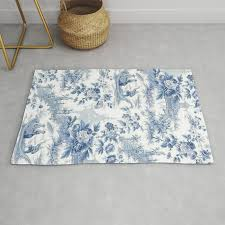 powder blue chinoiserie toile rug by