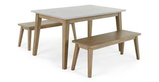 fawn dining table and bench set zinc