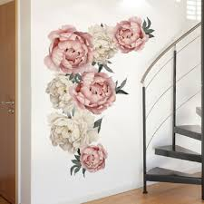 Pink Watercolor Peony Vintage Wall Decal Vinyl Peel And Stick Removable Peonies Sticker Nursery Decor Girl Flower Art Home Decor Wall Stickers Aliexpress