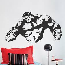 Strong Man Room Decal Stickers Wall Decal Boys Wallpaper Bedroom Wall Decor Kids Smash Wall Adhesive Vinyl Trendy Wall Designs