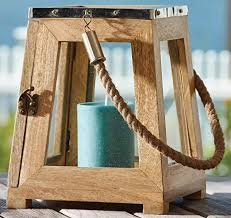 nautical wood square lantern with rope