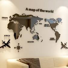 Modern World Map Acrylic Decorative 3d Wall Sticker For Living Room Bedroom Office Decor 5 Sizes Diy Wall Sticker Home Decor Wall Stickers Aliexpress