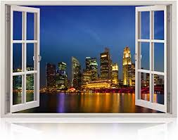 Amazon Com Realistic Window Wall Decal Peel And Stick Singapore Decor For Living Room Bedroom Office Playroom City Wall Murals Removable Window Frame Style Urban Wall Art Vinyl Poster Wall