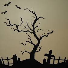 Scary Halloween Tree Drawing Clip Art Library