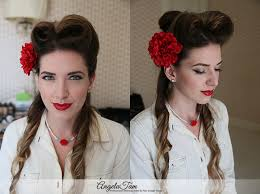 los angeles victory rolls hair style