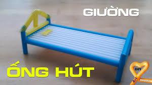 Hướng dẫn làm giường bằng ống hút đơn giản cho búp bê ngủ #DIY Ống ...