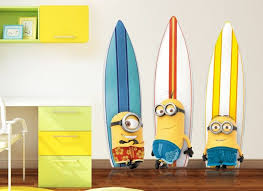 Hang Ten With The Minions With Our Exclusive Minions Surfboard Wall Decal This Colorful Wall Graphics Will Add Seriou Wall Graphics Surfboard Wall Wall Decals