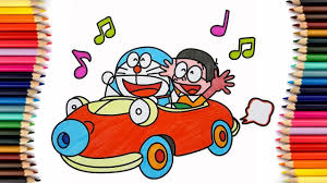 Vẽ và tô màu Doraemon - Doraemon và Nobita cùng nhau lái ô tô   Bé tập t...