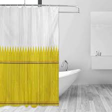 Xlcsomf Modern Shower Curtain Yellow Colorful Wooden Picket Fence Design Suburban Community Rural Parts Of Country Quick Drying Yellow Mustard W48 Xl72 Amazon Ca Home Kitchen