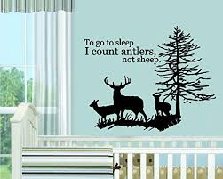 Amazon Com Bestpriceddecals To Go To Sleep I Count Antlers Not Sheep With Deer Family 4 Children Wall Decal Ex Lrg 35 X 42 Black Home Kitchen