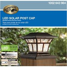 Hampton Bay Solar Powered Outdoor Mediterranean Bronze Integrated Led 3000k Warm White Landscape Post Cap Light 84044 The Home Depot