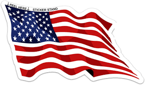 Amazon Com Waving American Flag Sticker Automotive