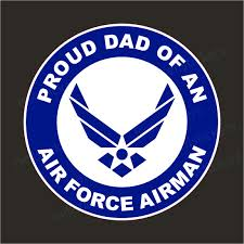 Proud Dad Of An Air Force Airman Military Usaf Bumper Sticker Window Decal White