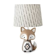 Levtex Baby Bailey Table Lamp Fox Lamp Nursery Lamp Base And Shade Charcoal Taupe White Nursery Accessories Measurements 22 In High And 6 In Diameter