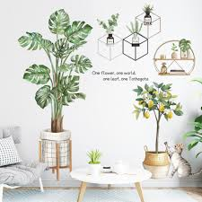 Pvc Nordic Green Plants Fresh Leaves Wall Decals Nursery Decor Leaf Wall Stickers Diy Wall Art Decor Decoration Sticker For Home Living Room Bedroom Offices Walmart Com Walmart Com