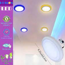 Đèn Led ốp trần tròn 24w ( 18w +6w) ốp nổi 2 màu 3 chế độ s trắng+viền s  màu Posson LP-Ro18+6x