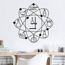Super Sale 8e858 Laboratory Atom Pattern Vinyl Wall Decal Science School Chemistry Office Indoor Decor Stickers Wateroroof Art Wall Decor Z303 Cicig Co