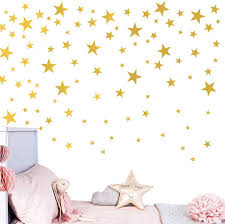 Amazon Com Melissalove 174pcs Mixed Size Star Wall Stickers Home Decor Bedroom Removable Nursery Wall Decals Kids Diy Art Decal Gold White Black Star Wall Sticker Jw343 Gold Arts Crafts Sewing