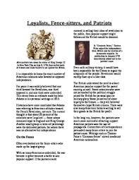 Informational Text American Revolution Loyalist And Patriots No Prep
