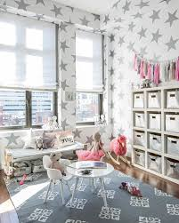 All Star Limo For Contemporary Kids And Childrens Furniture Gray And Pink Gray Area Rug Silver Cube Storage Bins Silver Star Wall Paper Star Theme Tassels Toy Room Toy Storage Bench White