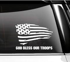 Amazon Com God Bless Our Troops Tattered American Flag Car Decal Tumbler Decal Handmade