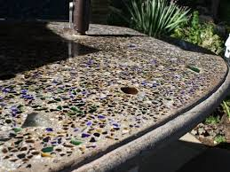 glass in outdoor concrete countertops