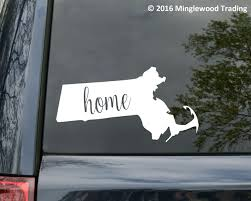 State Of Massachusetts With Home Inside The Decal